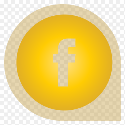 Yellow Facebook icon design illustration on transparent background PNG