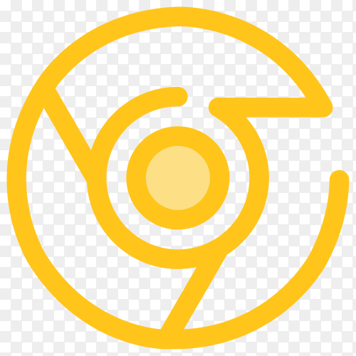Yellow google chrome icon on transparent PNG