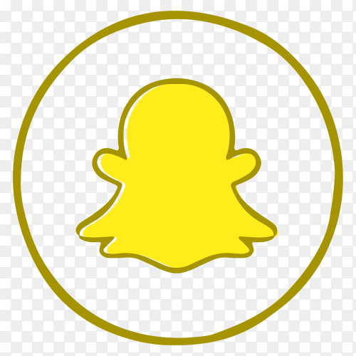 Yellow logo Snapchat on transparent background PNG