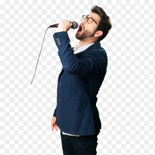 Young man singing on transparent background PNG