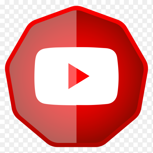 Youtube icon button design on transparent background PNG