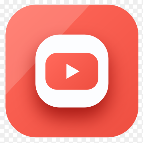 Youtube icon design in gradient colors on transparent PNG