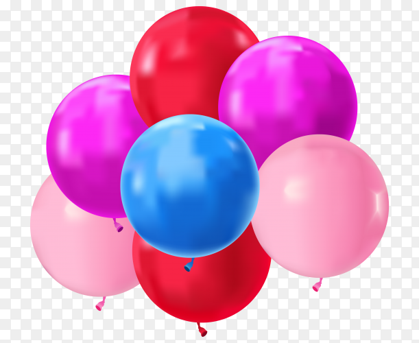 colorful realistic bunch flying birthday balloons Clipart PNG