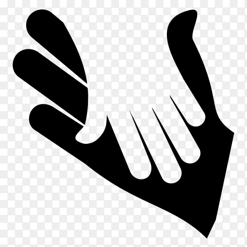 hands support charity together pictogram silhouette style icon on transparent background PNG