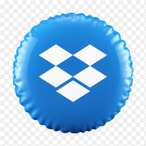 3D Balloon Dropbox icon on transparent background PNG