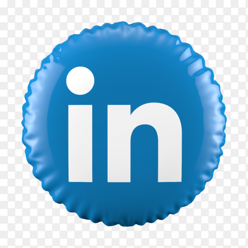 3D Balloon LinkedIn icon on transparent background PNG