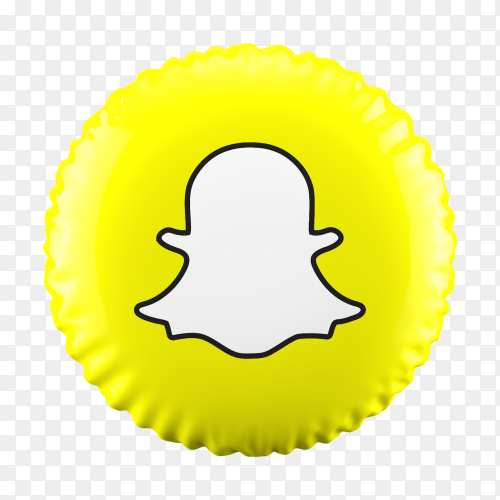 3D Balloon Snapchat icon on transparent background PNG