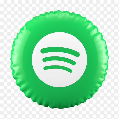 3D Balloon Spotify icon on transparent background PNG
