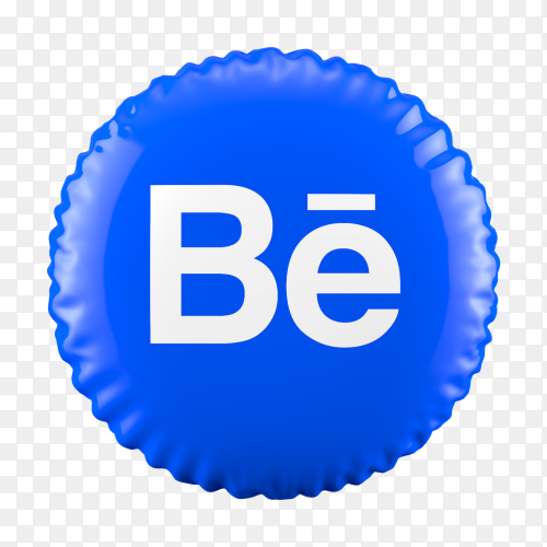 3D Blue Balloon Behance icon on transparent background PNG
