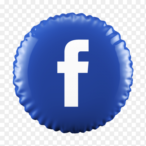 3D Blue Balloon Facebook icon on transparent background PNG