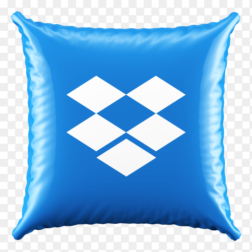 3D Blue Pillow Dropbox icon on transparent background PNG