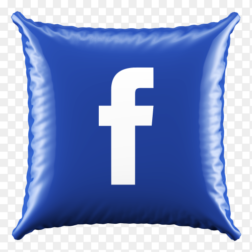 3D Blue Pillow Facebook icon on transparent background PNG