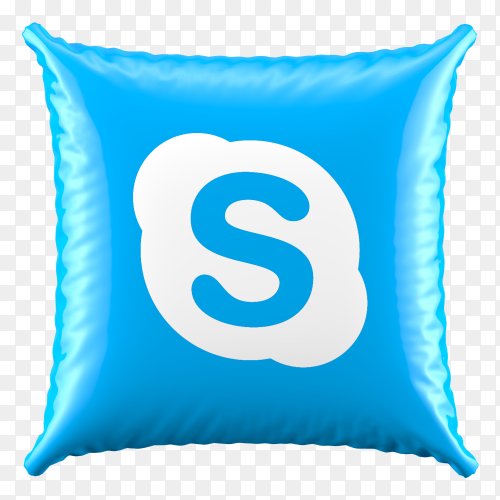 3D Blue Pillow Skype icon on transparent background PNG