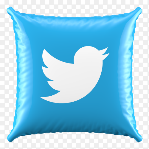 3D Blue Pillow Twitter icon on transparent background PNG
