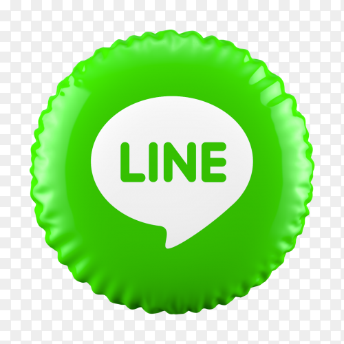 3D Green Balloon Line icon on transparent background PNG