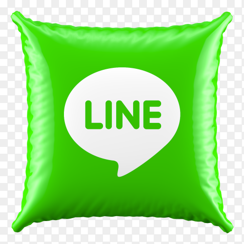 3D Green Pillow Line icon on transparent background PNG