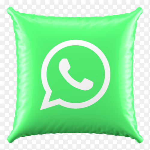 3D Green Pillow Whatsapp icon on transparent background PNG