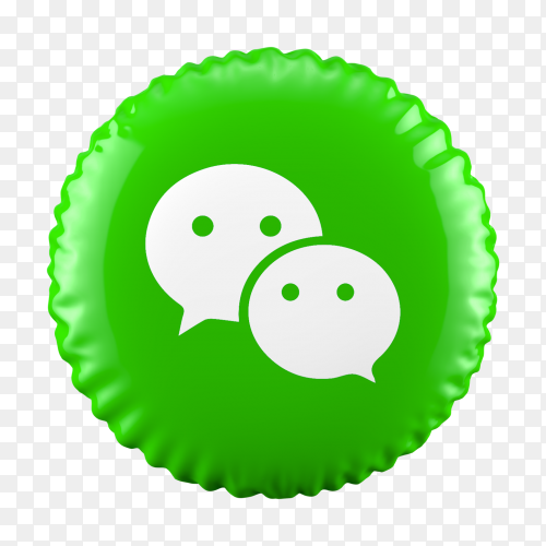 3D Green balloon WeChat icon on transparent background PG