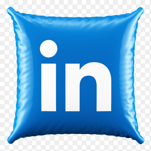 3D Pillow LinkedIn icon on transparent background PNG
