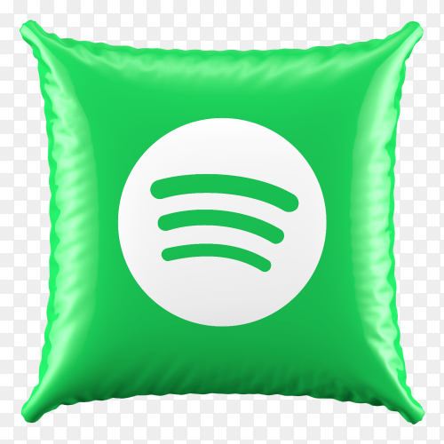 3D Pillow Spotify icon on transparent background PNG