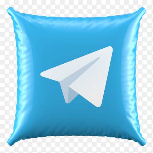 3D Pillow Telegram icon on transparent background PNG