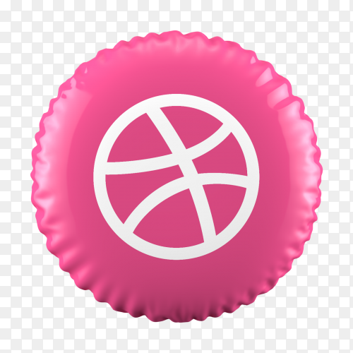 3D Pink Balloon Dribble icon on transparent background PNG