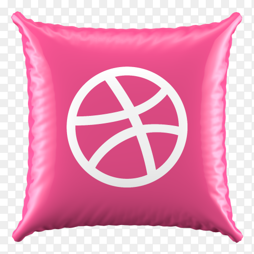 3D Pink Pillow Dirbble icon on transparent background PNG