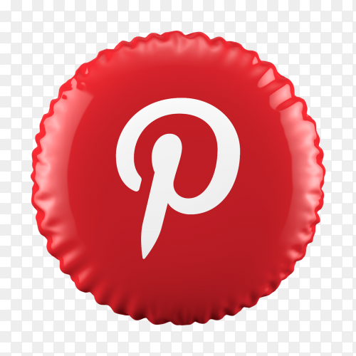 3D Red Balloon Pinterest icon on transparent background PNG