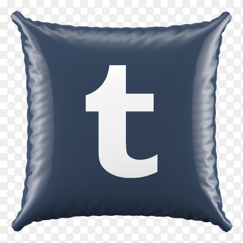 3D Black Pillow Tumblr icon on transparent background PNG