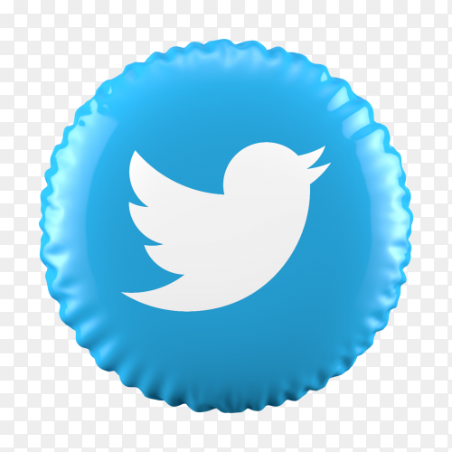3D balloon Twitter icon on transparent background PNG