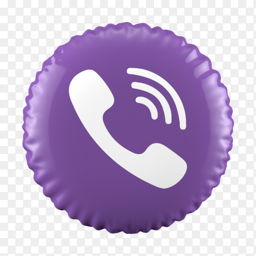 3D balloon Viber icon on transparent background PNG