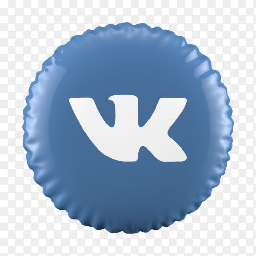 3D balloon Vk icon on transparent background PNG
