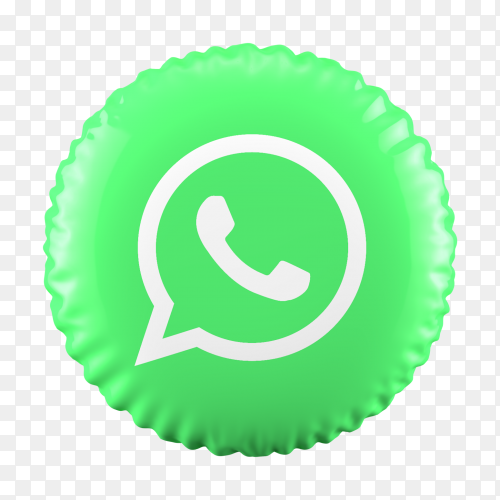 3D balloon Whatsapp icon on transparent background PNG