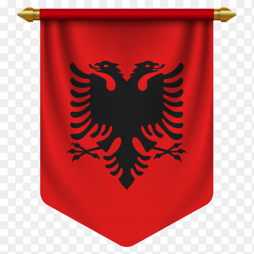 3D realistic pennant with flag of Albania on transparent background PNG