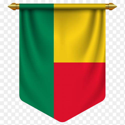3D realistic pennant with flag of Benin on transparent background PNG