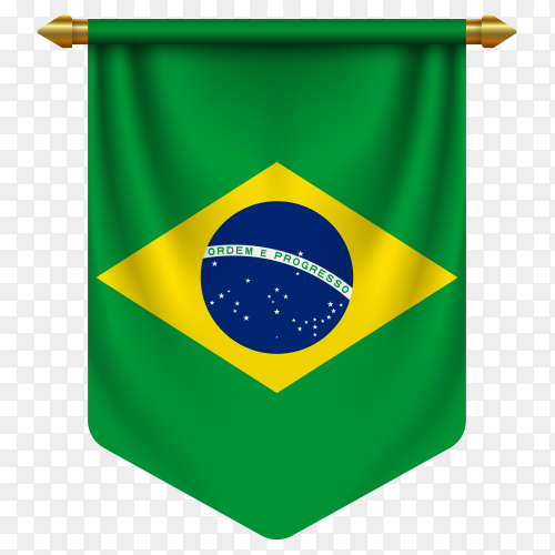 3D realistic pennant with flag of Brazil on transparent background PNG