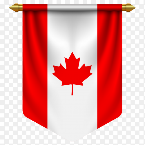 3D realistic pennant with flag of Canada on transparent background PNG