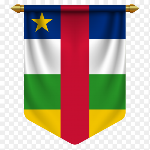3D realistic pennant with flag of Central African republic national on transparent background PNG