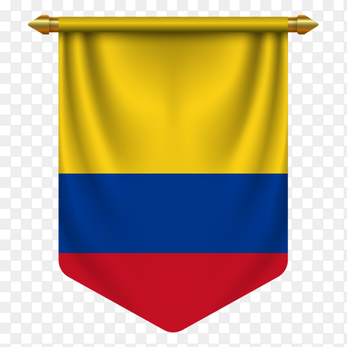 3D realistic pennant with flag of Colombia on transparent background PNG