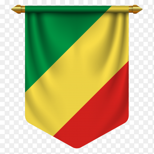 3D realistic pennant with flag of Congo on transparent background PNG