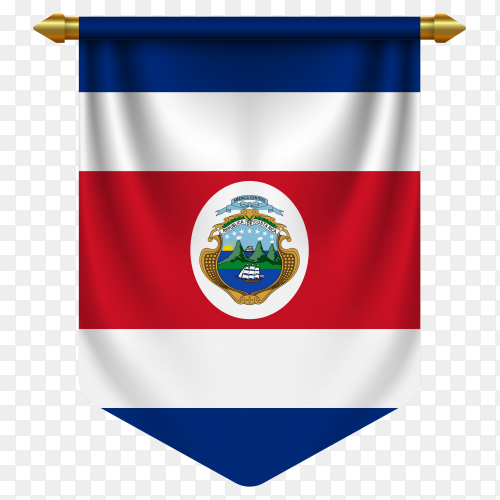 3D realistic pennant with flag of Costa Rica on transparent background PNG