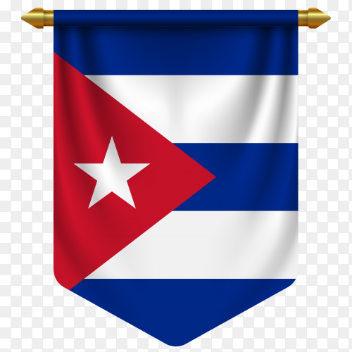 3D realistic pennant with flag of Cuba on transparent background PNG