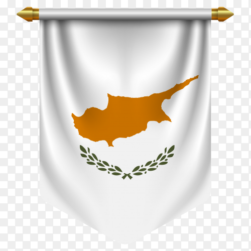 3D realistic pennant with flag of Cyprus on transparent background PNG