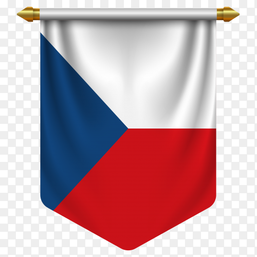 3D realistic pennant with flag of Czech on transparent background PNG