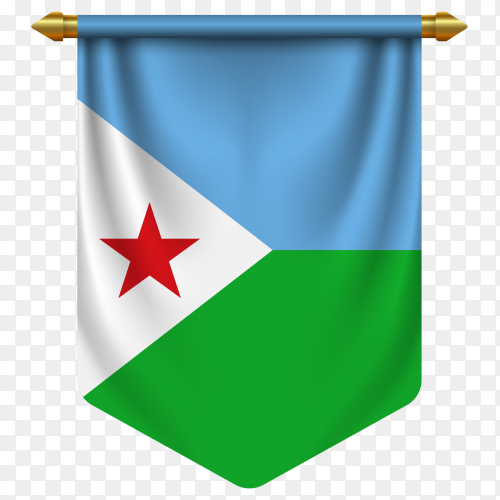 3D realistic pennant with flag of Djibouti on transparent background PNG
