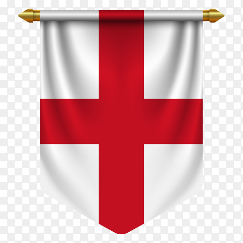 3D realistic pennant with flag of England on transparent background PNG
