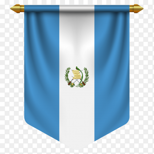 3D realistic pennant with flag of Guatemala on transparent background PNG