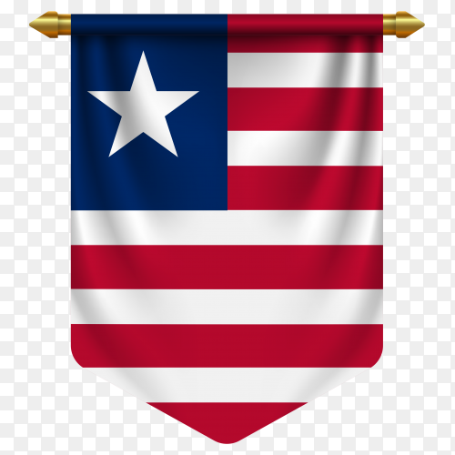 3D realistic pennant with flag of Liberia on transparent background PNG