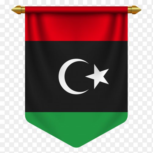 3D realistic pennant with flag of Libya on transparent background PNG