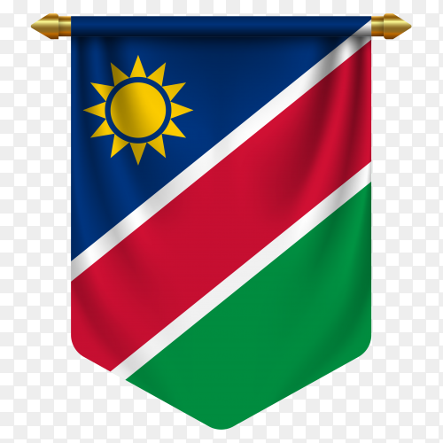 3D realistic pennant with flag of Namibia on transparent background PNG